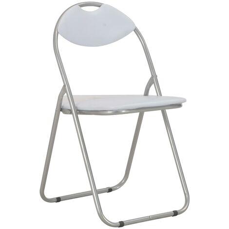 Chaises pliantes de salle à manger 6 pcs Blanc Similicuir