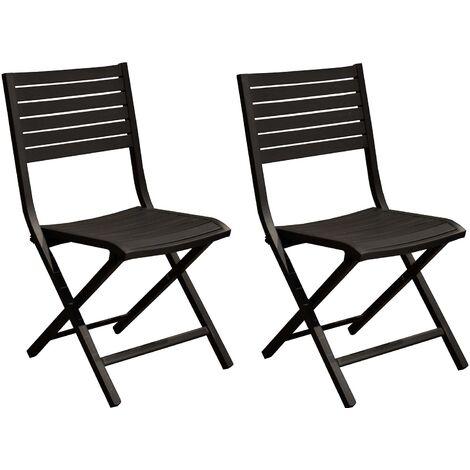 Chaises pliantes en aluminium Lucca (Lot de 6) Graphite - Graphite
