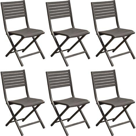 Chaises pliantes en aluminium Lucca (Lot de 6) Gris - Gris