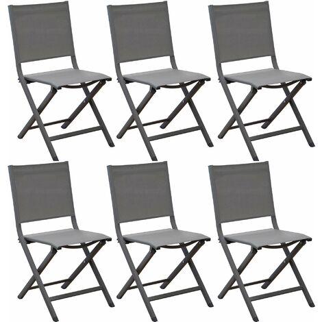 Chaises pliantes en aluminium Thema (Lot de 6) Café - Café