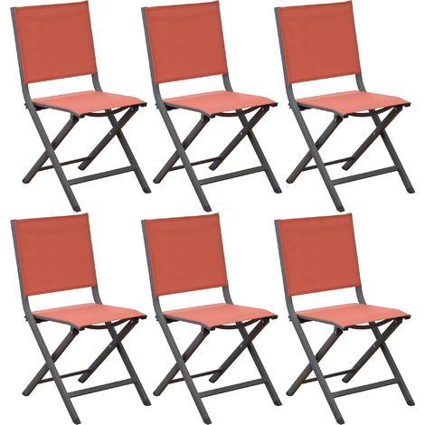 Chaises pliantes en aluminium Thema (Lot de 6) Café, Paprika - Café, Paprika