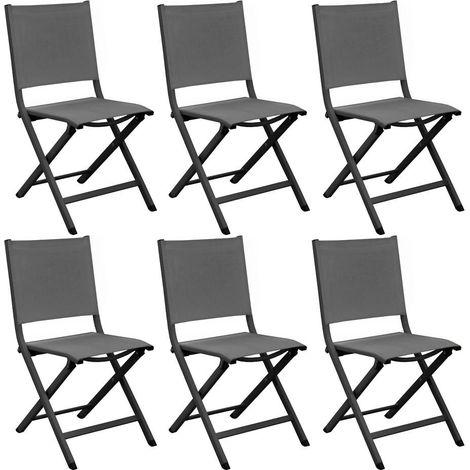 Chaises pliantes en aluminium Thema (Lot de 6) Graphite et gris - Graphite et gris