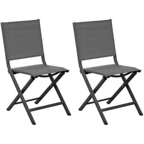 Chaises pliantes en aluminium Thema (Lot de 6) Gris - Gris