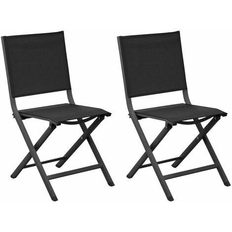 Chaises pliantes en aluminium Thema (Lot de 6) Gris, Noir - Gris, Noir