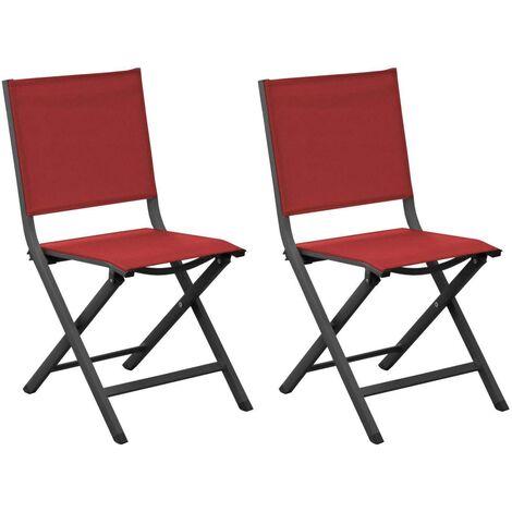 Chaises pliantes en aluminium Thema (Lot de 6) Gris, Rouge - Gris, Rouge