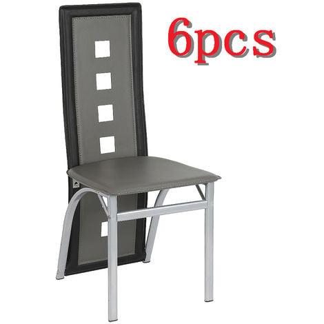 Chaises Salle à Manger Cuisine (Lot de 6)GRIS&NOIR 42x42.5x101.5 cm - Structure en métal,Revêtement en simili