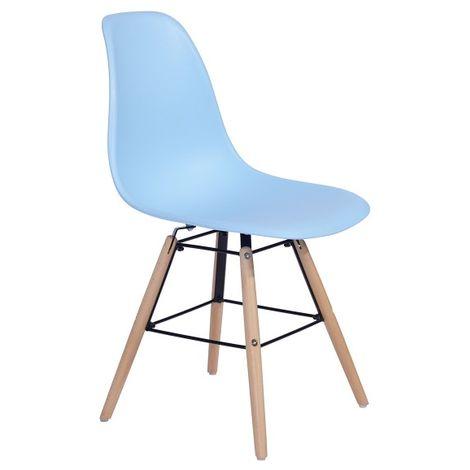 Chaises scandinaves bleu pastel - Lot de 4