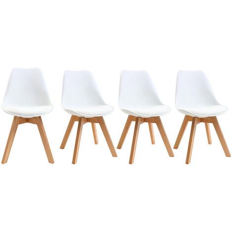 Chaises scandinaves bois (lot de 4) PAULINE