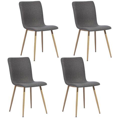 chaises scandinaves en tissu avec pieds en métal couleur bois foncé
