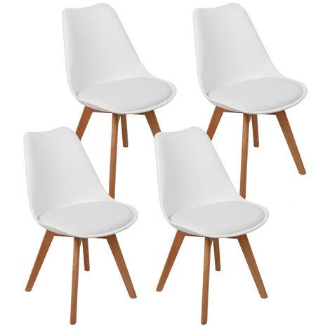 Chaises scandinaves Simple blanc et bois clair (lot de 4) JEOBEST