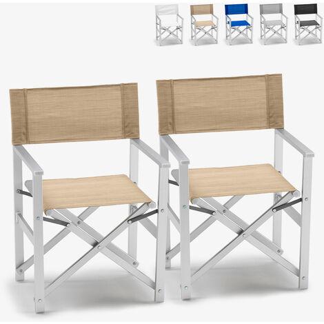 Chaises transats réalisateur de plage pliants aluminium textilène Lusso 2 pcs