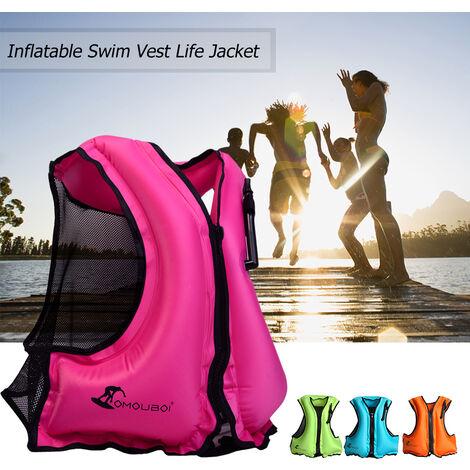 Chaleco de natacion inflable para adultos, chaleco salvavidas, AZUL