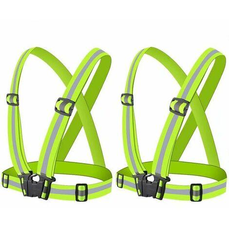 Chaleco de seguridad LITZEE, Chalecos reflectantes, 2 Chalecos de seguridad amarillos, Correr de noche, Caminar, Ciclismo y motociclismo, Adultos y niños