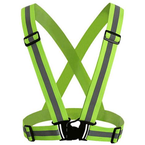 Chaleco reflectante, con cinta de bandas de alta visibilidad, cinturon de seguridad elastico ajustable multiusos,Verde Fluorescente, 1PC