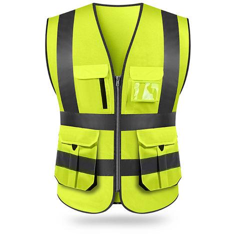 Chaleco reflectante, ropa de construccion, amarillo fluorescente, L
