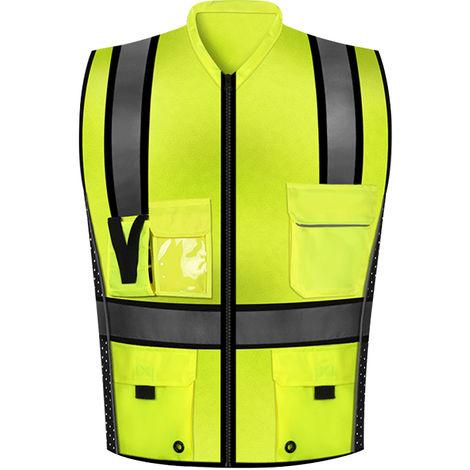 Chaleco reflectante, ropa de construccion, amarillo fluorescente,L