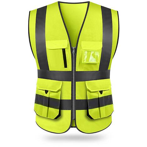Chaleco reflectante, ropa de construccion, amarillo fluorescente,XL