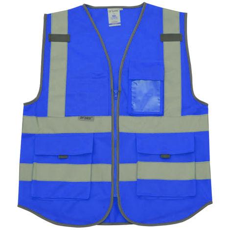 Chaleco reflectante, ropa de trabajo de construccion, azul real, XL