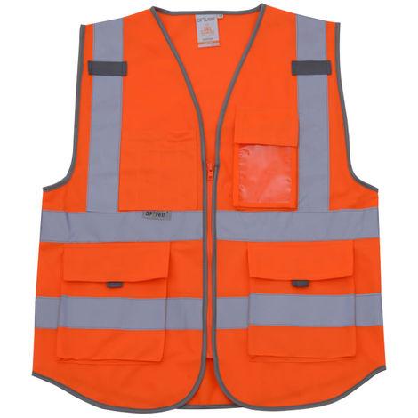Chaleco reflectante, ropa de trabajo de construccion, naranja fluorescente, XXL