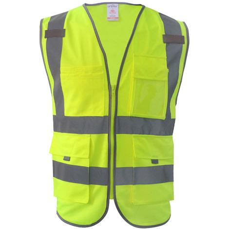 Chaleco reflectante, ropa de trabajo de construccion, verde hierba, M