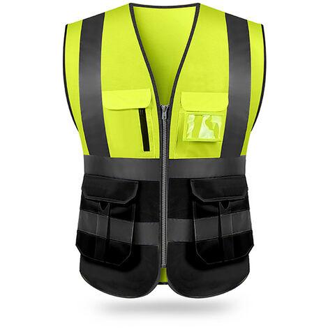 Chaleco reflectante, ropa de trabajo de seguridad, amarillo y negro, XXL