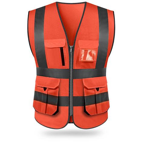 Chaleco reflectante, ropa de trabajo de seguridad del sitio, rojo, L