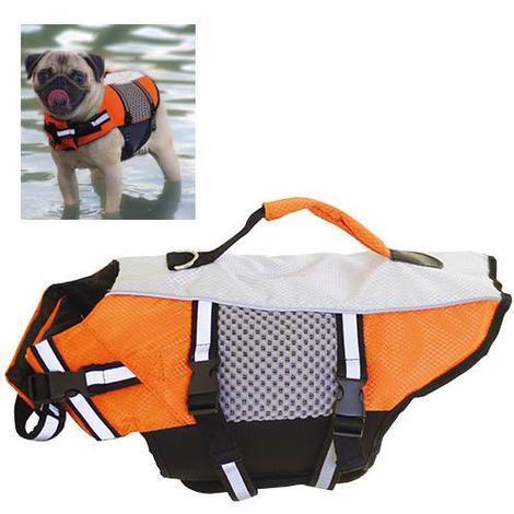 Chaleco salvavidas para perros naranja fluorescente Ibañez disponible en varias tallas.