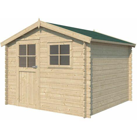 Chalet en bois 7.32 m² Kalmar Avec plancher + gouttière - Vert (feutre bitumeux)
