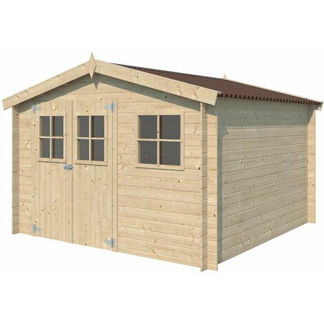 Chalet en bois 8.70 m² Malmo Avec plancher - Rouge (couverture)