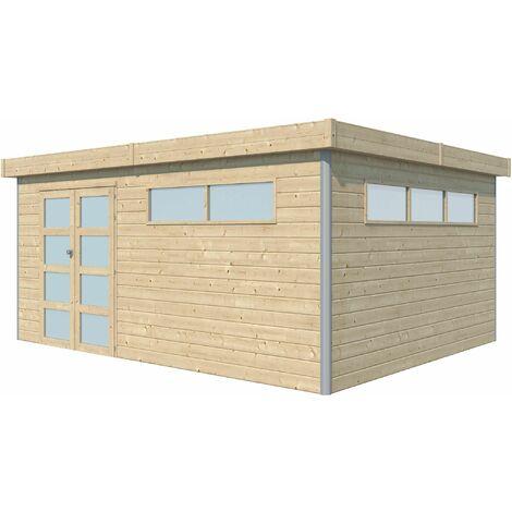 Chalet en bois profil aluminium contemporain 18.67 m² Avec plancher + gouttière