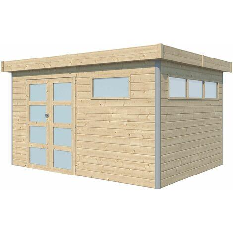 Chalet en bois profil aluminium contemporain 8.7 m² Sans option