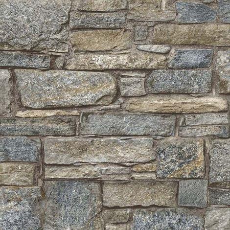 Chalet Stone Navy Wallpaper Brick Effect Non Woven Textured Vinyl Grandeco Life