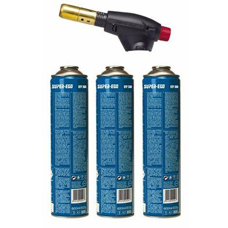 Chalumeau à gaz Cartouche piézoélectrique 3 Bouteilles Rofire Super Ego P00555500