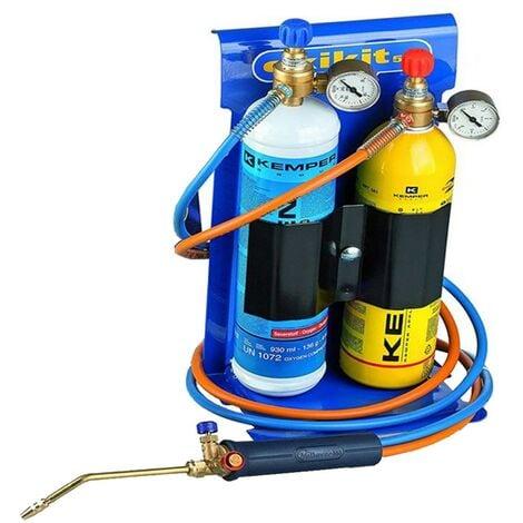 Chalumeau BI Gaz Professionnel OXYKIT 3300°C KEMPER Avec réducteurs GAZ Manomètres +2 pointes Kit complet Brasage et soudage