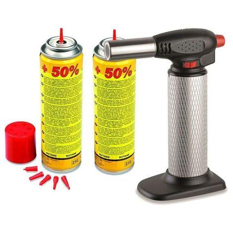 Chalumeau de cuisine KEMPER à gaz + 2 recharges - micro torche - PIEZO
