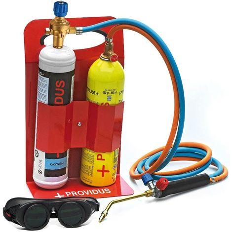 Chalumeau OxyGaz KHW GASEX semi pro 3100° PROVIDUS Bouteille de gaz GASEX Oxygene 110 + GASEX 450 Lunette soudure inclus.