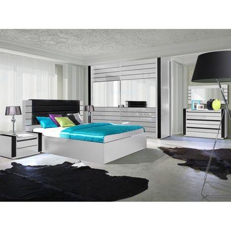 Chambre à coucher complète LINA blanche et noire brillante. Ensemble complet, moderne et design pour votre maison. - Blanc