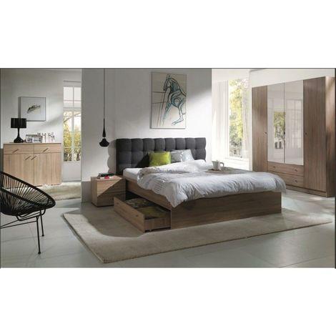 Chambre à coucher complète MAXIM. Lit adulte 160x200 cm + tiroir + sommier + chevets + commode + armoire/garde robe - Marron