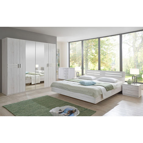 Chambre adulte 140 X 190 cm imitation chêne blanc/chrome brillant-PEGANE-