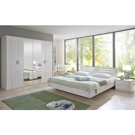 Chambre adulte 200 X 160 cm imitation chêne blanc/chrome brillant -PEGANE-