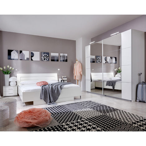 Chambre adulte en panneaux de particules coloris blanc 180 X 200 cm -PEGANE-