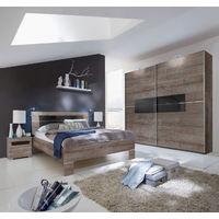 Chambre adulte en panneaux de particules coloris chêne chataigne - Dim : 180 X 200 cm -PEGANE-
