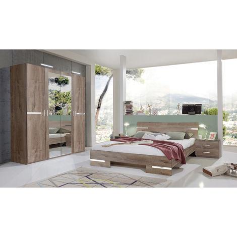 Chambre adulte en panneaux de particules imitation chêne chataigne - 140 X 200 cm -PEGANE-
