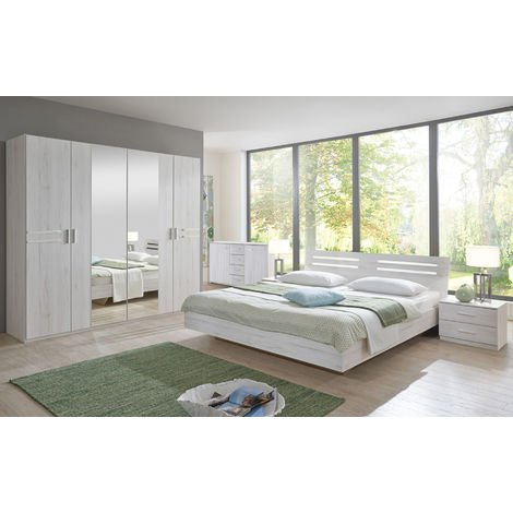 Chambre adulte imitation chêne, blanc/chrome brillant 180 X 200 cm-PEGANE-