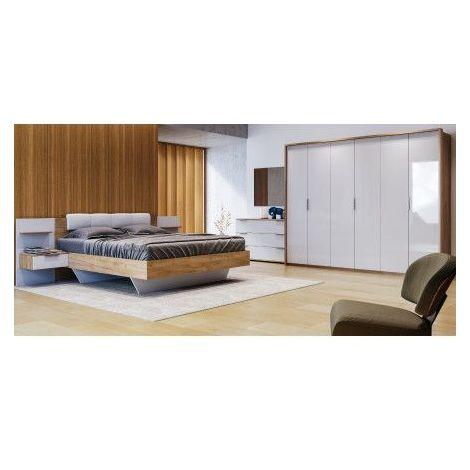 Chambre ASTO II , blanc laqué et chêne clair 180x200 cm - ARMOIRE: sans armoire - Blanc