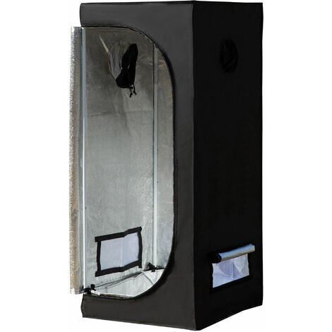 Chambre de culture hydroponique tente de culture grow box 0,6L x 0,6l x 1,4H m oxford 600D mylar noir - Noir