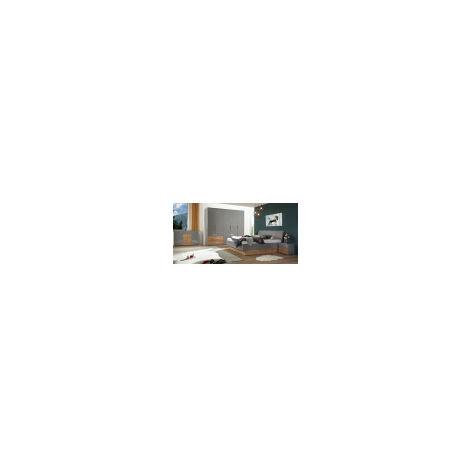 Chambre Linta , Gris laqué et chêne clair 180x200 cm - ARMOIRE: sans armoire - Gris