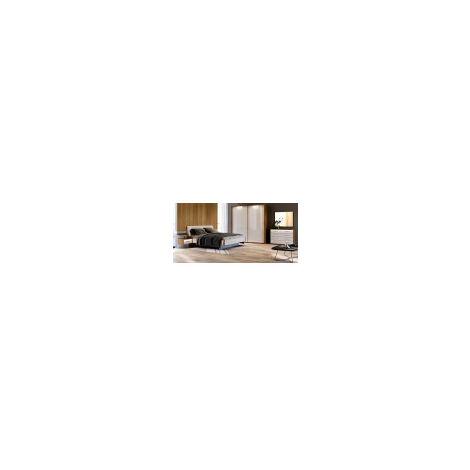 Chambre Niko II , blanc laqué et chêne clair 180x200 cm - ARMOIRE: sans armoire - Blanc