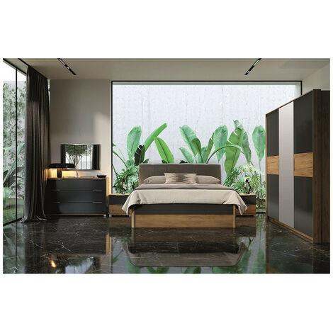 Chambre Romana avec tiroir de rangement, lave mat et chêne clair 160x200 cm - ARMOIRE: avec armoire