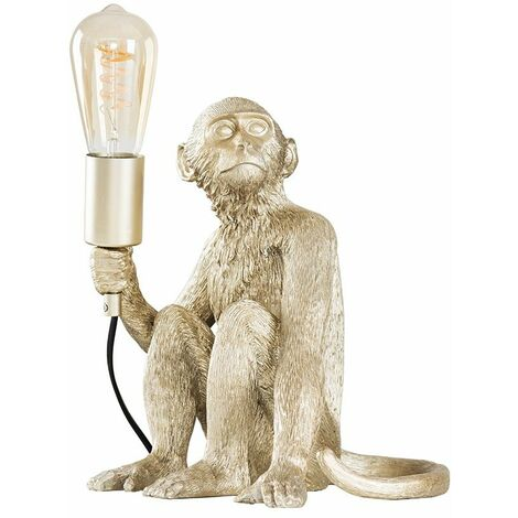 Champagne Silver Painted Monkey Table Lamp 4W LED Helix Filament Bulb 2200K Warm White